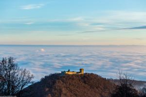 Zagreb benath the clouds, and the Medvednica hill above